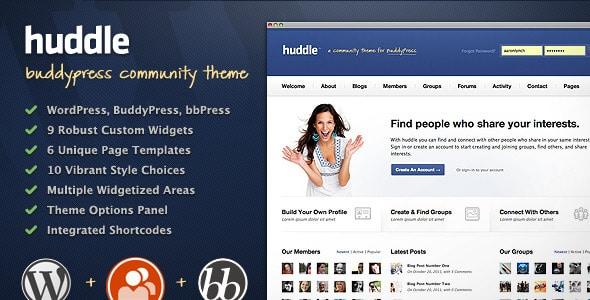 Huddle, Tema WP compatibile con Buddypress e BBPress